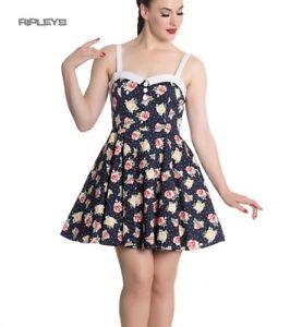 Hell-Bunny-Navy-Blue-Floral-Roses-Flowers-Mini-Dress-EMMA-Polka-Dot-All-Sizes