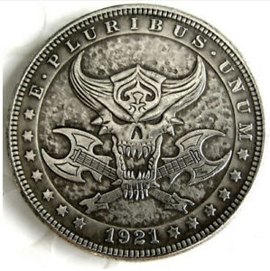 Hobo Nickel 1921 Dollar Viper Snake Eating Skull Skeleton Cross Axes Casted Coin