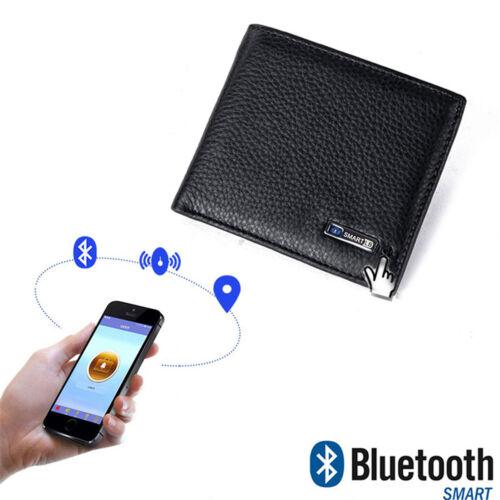 Smart Bluetooth Anti-theft Slim Wallet Cowhide Leather Bifold Purse Alarm Track
