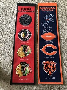 Chicago-Bears-Blackhawks-Heritage-Banners-Lot-Of-2
