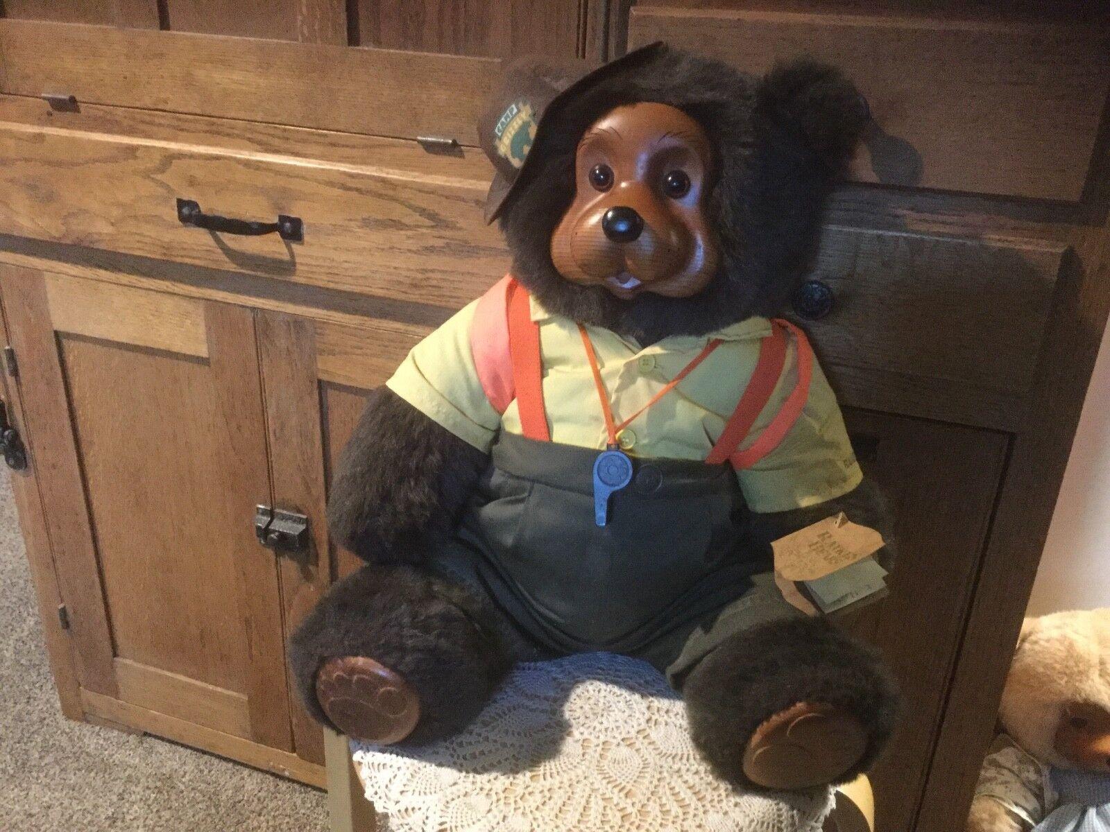 Vtg Robert Raikes Originals. 22  Wendell  Bear.  Wooden Face, Feet Camp Grizzly.