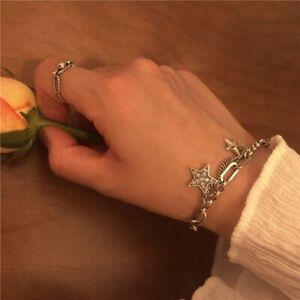 Damen-Armband-925-Sterling-Silber-Armreif-Silberkette-Stern-Women-039-s-bracelet-Neu
