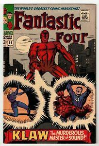 FANTASTIC-FOUR-56-VF-NM-2nd-KLAW-Appearance-Jack-Kirby-Stan-Lee-1966-LQQK