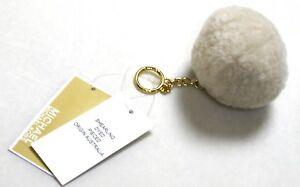 Michael-Kors-Shearling-Fur-Pom-Pom-Gold-Key-Chain-Key-Fob-Ivory