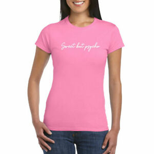 Womens-Slogan-T-Shirt-Top-Printed-Shirts-Round-Neck-Short-Sleeve-Casual-UK-8-14