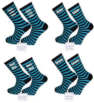 Honig Light Blue And Black Striped Luxury Cotton Rich Wedding Socks, Groom, Best Man