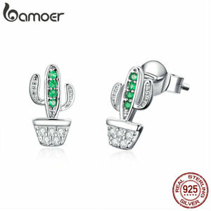 BAMOER-Solid-S925-Sterling-silver-Stud-Earrings-cactus-With-AAA-CZ-For-Women