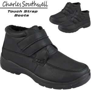Mens-Black-Winter-Leather-Fleece-Inner-Touch-Strap-Boots-Casual-Shoes-Sizes-7-12