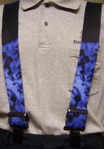 "Suspenders 2/""x48/"" FULLY Elastic Biker Smoke blue NEW"