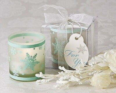 Winter Blue Snowflake Tea Light Candle Holder Bridal Wedding Favor 24, 48, 96