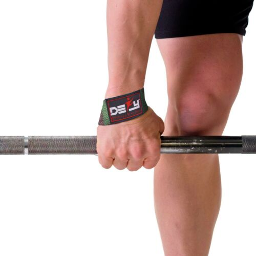 DEFY WEIGHT LIFTING BODYBUILDING WRIST BAR SUPPORT COTTON STRAPS SKULL PADDED