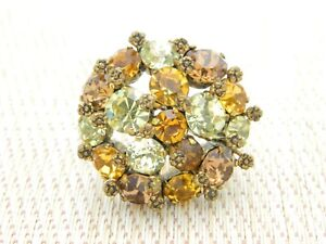 AUSTRIA-Signed-Topaz-Multi-Color-Glass-Rhinestone-Flower-Pin-Brooch