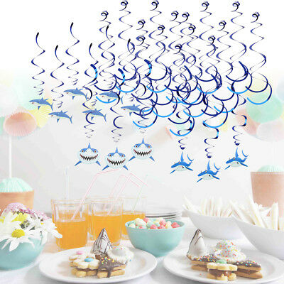 30 Pieces Shark Hanging Swirls for Kids Birthday Party Baby Shower