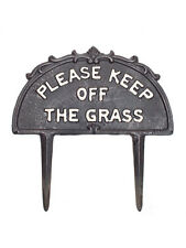 "Black 10"" Metal Cast Iron ""Keep Off Grass"" Garden Sign Plaque Stake"
