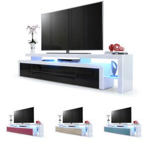 Meuble Tv Armoire Basse Leon V3 En Blanc Façades En Coloris Divers