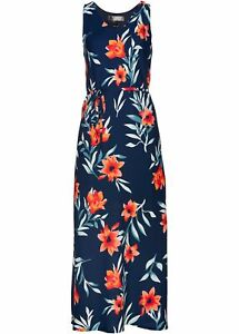 Damen Dunkelblau kleid Gr Kleid 40 Neu Maxi Abendkleid Bedruckt Freizeitkleid HqwI7Ip