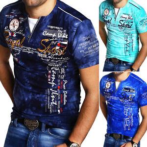 G-B-D-Herren-V-Neck-T-Shirt-Slim-Fit-Poloshirt-Kurzarm-Blau-Schwarz-Grau-NEU