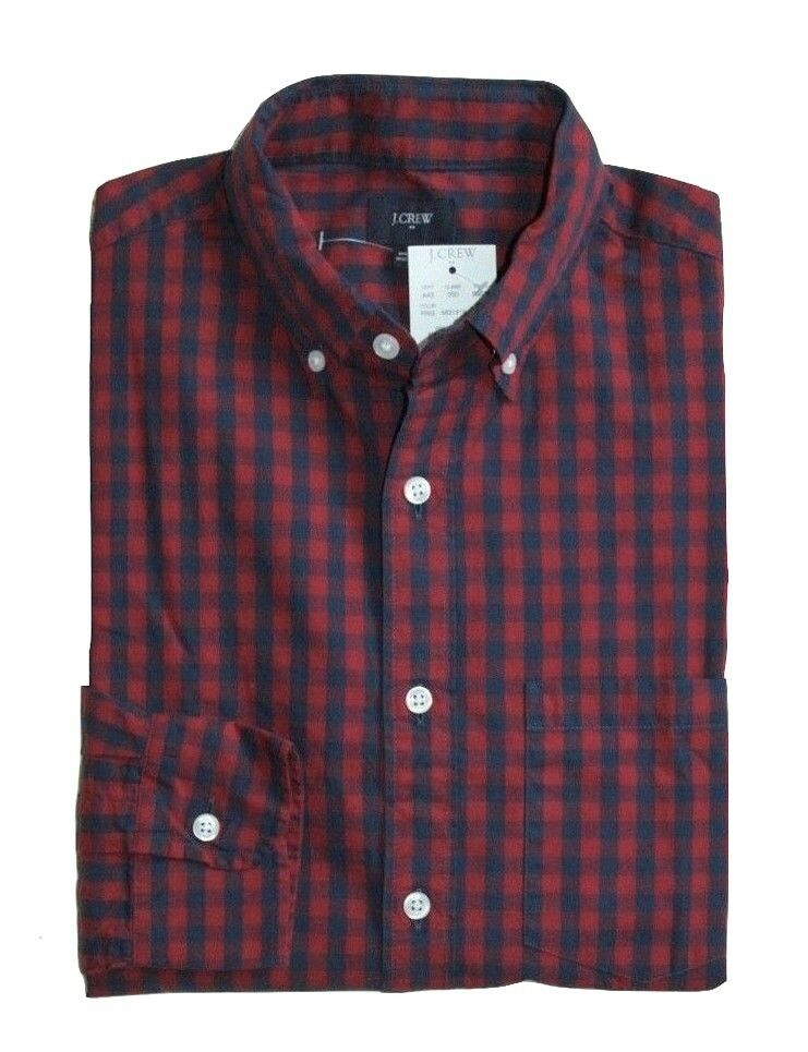 J Crew Factory - Men's M - Slim Fit - Red Navy Gingham Washed Cotton Shirt