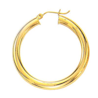 Fashion 14k Yellow Gold 2.0mm x 55mm Round Shiny RunwayTube Hoop Earrings