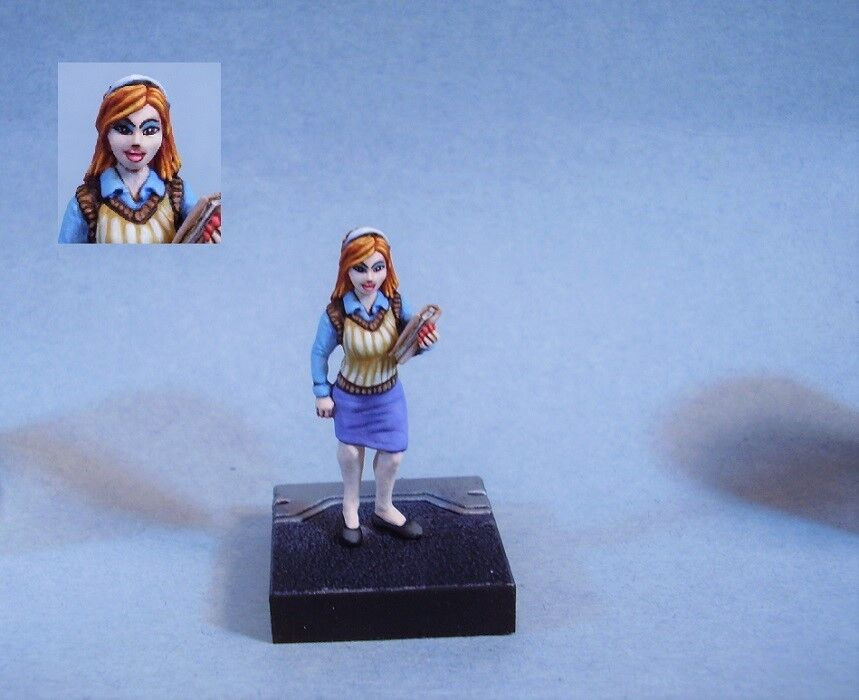 Pintado En Miniatura Cute Mujer scientist science Officer