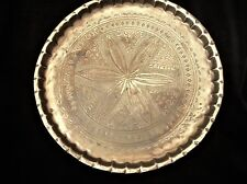 """VINTAGE SOLID BRASS TRAY DETAILED ENGRAVED CHASING FLOWER CENTRE PIE RIM 11.5"""""""