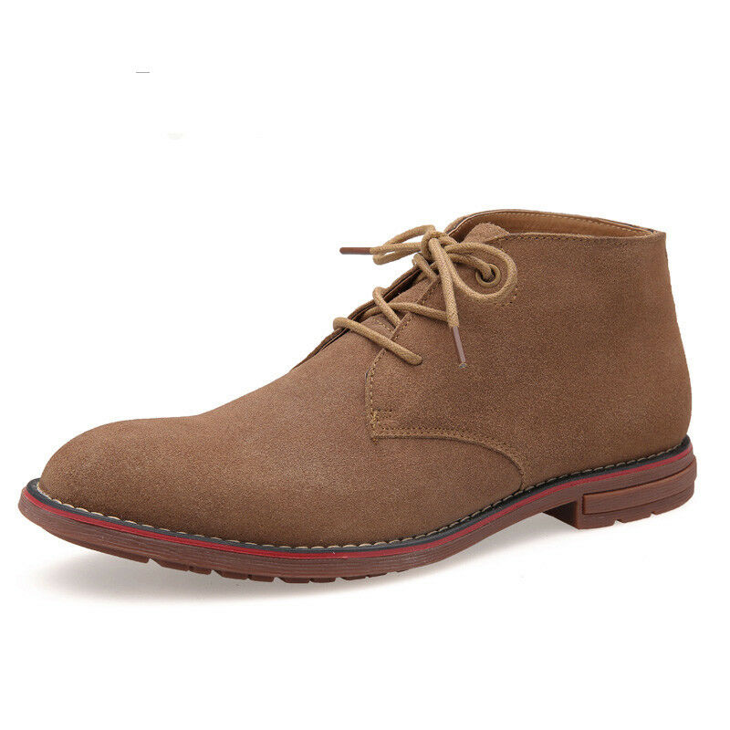 Mens Suede Leather Desert Ankle Boots Classic Lace Up Chukka