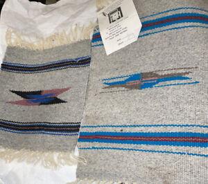 2-Vintage-Southwest-Small-Chimayo-Blanket-Rug-Throw-Set-Lot-Wool