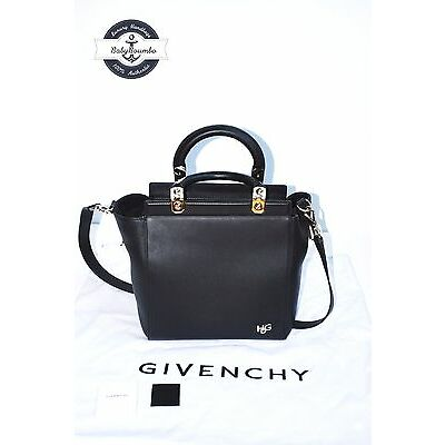 AUTHENTIC - GIVENCHY Black Matte Calfskin Leather Small Givenchy HDG Tote Bag
