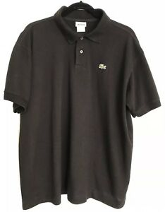 Lacoste-Mens-Black-Short-Sleeve-Polo-Golf-Shirt-Size-6-Large-100-Cotton-EUC