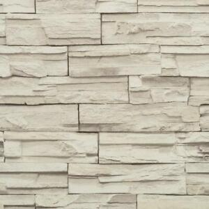 Wallpaper-Faux-Stacked-Stone-Brick-Rock-White-Gray-Heavy-Duty-Textured-Vinyl