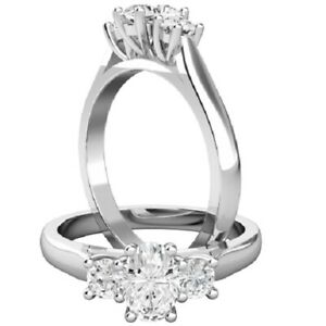 0.72 Ct Oval Cut Real Moissanite Engagement Rings 18K Solid White Gold Size 7.5