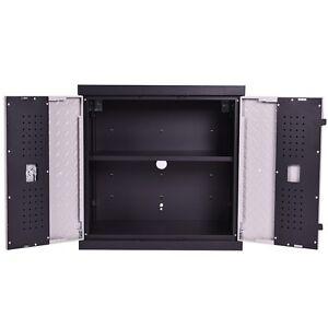 garage steel wall mount cabinet metal storage box 2 shelves tool organizer ebay. Black Bedroom Furniture Sets. Home Design Ideas