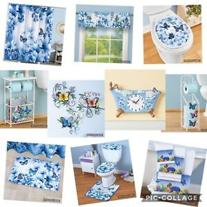 16 Piece Blue Butterflies Bathroom Shower Curtain Bath Rug ...