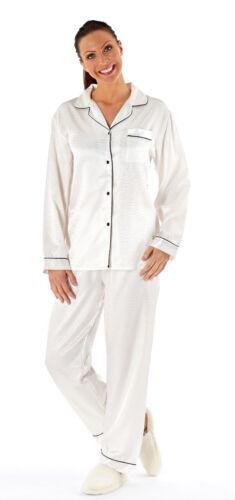 Mesdames satin//Brosse à manches longues Pyjama/'S Crème Taille 18//20 LN293