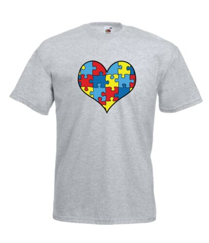 AUTISM HEART AWARENESS TOP tee xmas birthday gift idea Kids Boys Girls T SHIRT