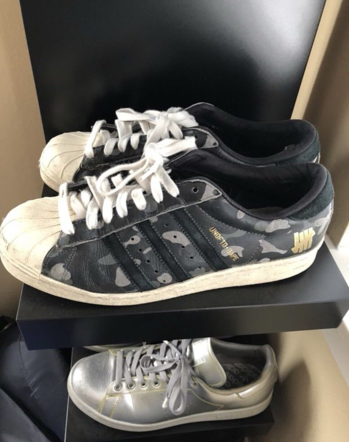 Adidas Mens Bape X Undefeated 80v Superstar Black Size 9.5
