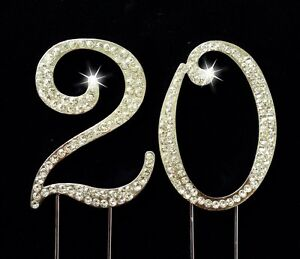 20th Birthday Number Cake Topper Sparkling Rhinestones 275 Inches