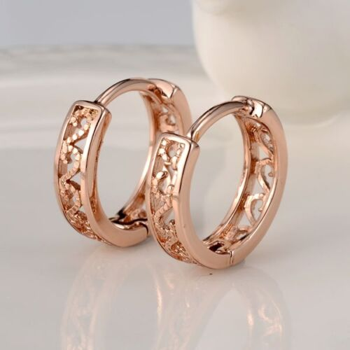 Women/'s Hoops Boucles d/'oreilles 18k or rose rempli 14 mm Fashion Jewelry New