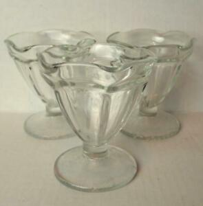 Anchor Hocking Clear Glass Fluted Sundae Dishes Ice Cream Clear Kitchen Decor