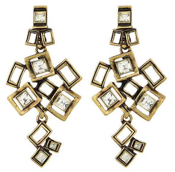 Retro Bronze Metal Hollow Out Geometry Square Cluster Drop Dangle Stud Earring
