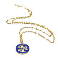 "NEW Clover Charm Blue & Gold Chain Enamel Pendant Necklace Boutique Style 32"" US"