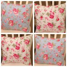 "4 Cath Kidston White & Blue Rosali Floral 16"" Cushion Covers Shabby Chic"