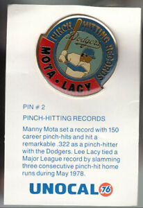 VINTAGE-L-A-DODGERS-UNOCAL-PIN-UNUSED-PINCH-HITTING-RECORDS-MOTA-LACY
