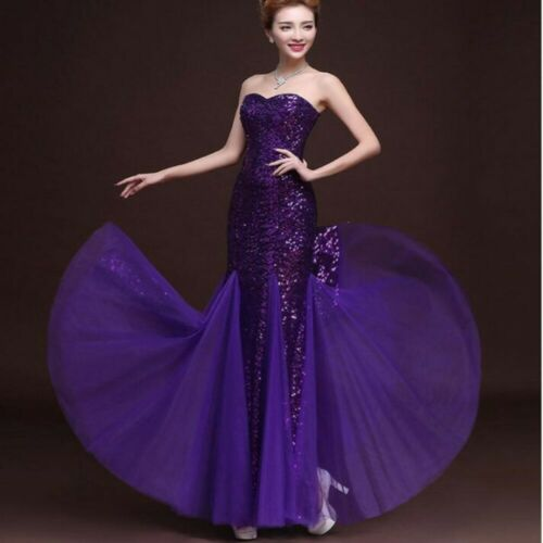Womens Glitter Sequined Strapless Evening Party Dress Slim Fit Tunic Long Skirts