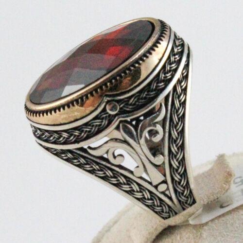 Turco otomano facetado rubí plata esterlina 925 Anillo de Hombre de Lujo para Hombre Todas Las Tallas