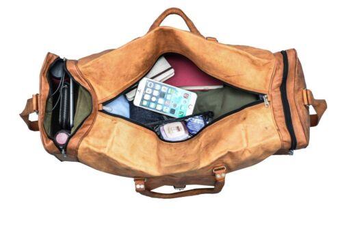Leather Goat Bag Travel Gym Luggage Duffel Men Vintage Genuine Bags Brown Tote