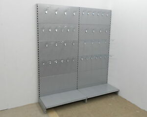 3m tegometall lochwandregal lochwand regale haken wandregal weiss grau silber ebay. Black Bedroom Furniture Sets. Home Design Ideas