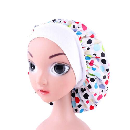Kids Girls Cotton Bonnet Cap Night Sleep Hair Protect Head Cover Wide Band Hats