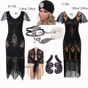 Black-Style-Party-Dress-Accessories-1920s-Flapper-Costumes-Formal-Gown-Plus-Size