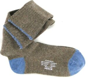 Sorley-Damen-Kniestruempfe-NEU-one-size-dkl-taupe-blau-Cashmere-Anteil